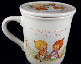 Vintage coffee mug NIB 1983 Hallmark Mug with matching lid/coaster - Friends make your heart a little lighter