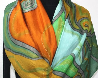 Terracotta Silk Scarf. Hand Painted Scarf. Green, Olive Handmade Silk Shawl AUTUMN WEAVE. Birthday, Bridesmaid Gift. Offered in Two SIZES.