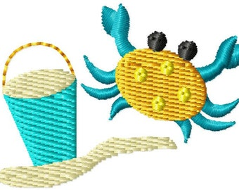 Crab Sand Pail Mini Machine Embroidery Design