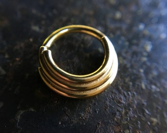 Yellow Gold Triple Stacked Septum Ring - Piercing - Helix - Conch - Tragus