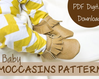 Leather Moccasin Sewing Pattern - Baby Shoe Pattern - Instant PDF digital download