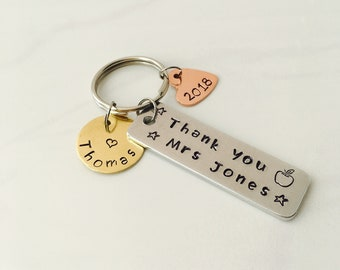 Hand stamped teacher keyring
