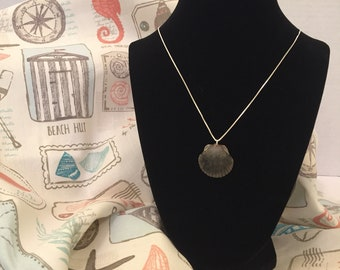 Grey Scallop Natural Seashell Necklace