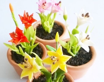 Value set, Miniatue Polymer Clay Flowers, Day Lilies in ceramic pot, set of 4 pieces