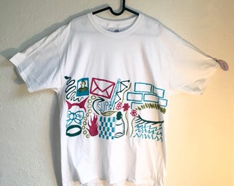 Painted White T-Shirt by Sam Pletcher 〰 Hand Painted One of a Kind Adult Large Shirt 〰 Maroon, Olive Green, Spruce Green and Turquoise