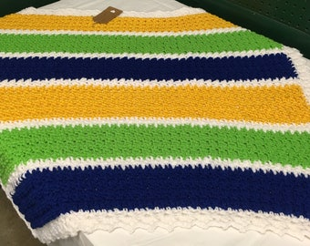 Crochet Blue, Green, Yellow, and White Baby Boy Afghan