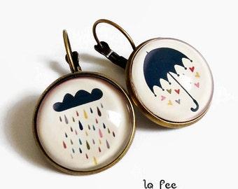 Earrings sleepers, singing in the rain! umbrella rain cloud heart, glass cabochon
