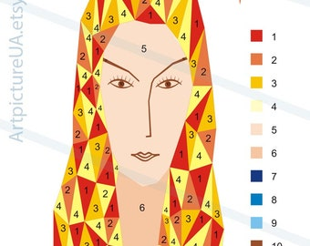Painting by numbers. Polygonal portrait based on Modigliani. Digital file - scheme to create a picture.