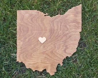 Ohio Wall Art, Wooden Ohio Map, Rustic Ohio Decor, Ohio Outline Map, Ohio State Cutout, Ohio Wedding Guestbook