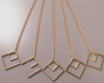 Minimalist Geometric Brass Double Squares Necklace