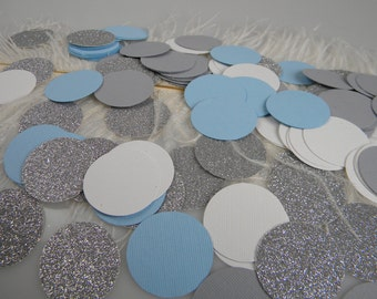 Confetti Light Blue Silver White Grey Party Decoration  wONEderland Party / Wedding or Baptism Table Decoration  Baby Boy Shower Decoration/