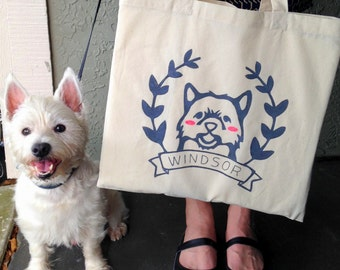 Custom Pet Tote Bag - Personalized Pet Tote Bag - Custom Pet Portrait - Custom Portraits - Pet Portrait - Pet Lovers - Gift for Pet Lovers