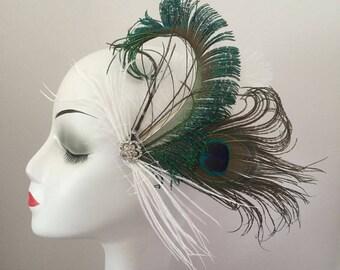 Feather Fascinator Hair Clip Headband Wedding Gatsby Party Costume Headpiece