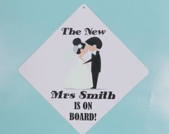 Metal car sign the new mrs on board wedding present made to order personalised item wedding gift new couple present new car gift