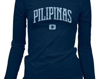 Women's Pilipinas Long Sleeve Tee - Ladies Philippines LS T-shirt - S M L XL 2x - Filipina - 3 Colors