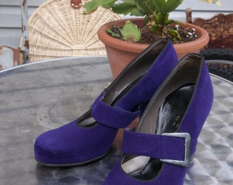 Purple Suede 1960's Chunky Heels with Grey Metallic Buckle, Size 7A narrow, by Selby for Saxe's ltd. Ottawa