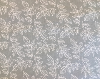 Gray fabric by the yard - grey fabric - gray floral fabric - gray leaf fabric - gray and white fabric