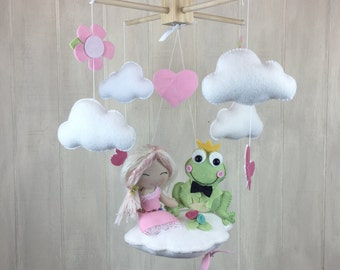 Baby mobile - Princess and Frog baby mobile - princess mobile - frog mobile - cloud mobile - butterfly mobile - flower mobile - nursery
