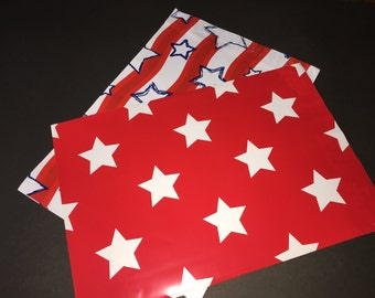 50  10x13 PATRIOTIC Assortment Flags and Stars Red White Blue Poly Mailers Self Sealing Envelopes 25 Each