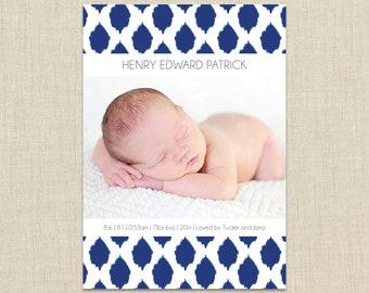 baby boy birth announcement, ikat pattern announcement