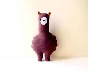 Small BROWN Alpaca Plush Toy Llama Soft Toy Alpaca Plushie Llama Softie Alpaca Theme Gift Llama Nursery Decor Cushion Cute Alpaca Animal Toy