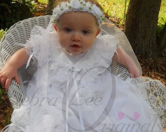 Mary Baby Girl White Christening Gown / Christening Dress /Blessing Dress / Blessing Gown. Sheer christening gown with lace and ribbon.