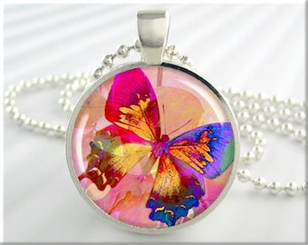 Rainbow Butterfly Necklace, Resin Charm, Multicolored Butterfly Art Pendant, Gift Under 20, Butterfly Jewelry, Round Silver 210RS