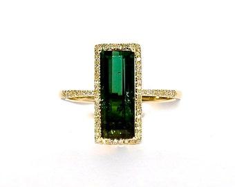 14K Green Tourmaline Baguette Diamond Solitaire Ring