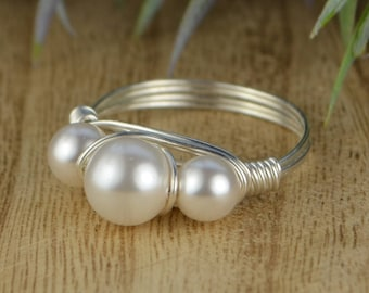 White Swarovski Crystal Pearls Ring-  Sterling Silver, Yellow OR Rose Gold Filled Wire Wrapped Ring -Size 4 5 6 7 8 9 10 11 12 13 14