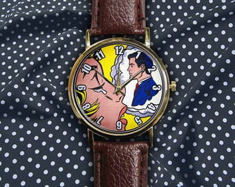 Vintage Montre Crying Girl Thinking of Him by Roy Lichtenstein American Comic Pop Art Unisex Ladies Men Leather Custom Watch Engravable Band
