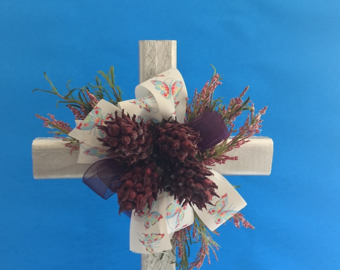 Cemetery flowers, flowers for grave, grave decoration, memorial cross, Cross for grave, In memory of, floral memorial