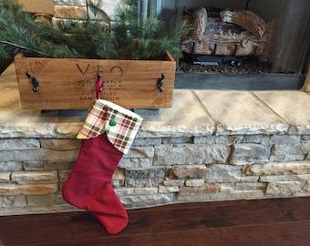 Christmas stocking plaid cuff
