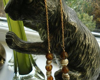 Ceramic brown and gold necklace