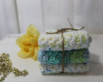 Set of 3 Hand Crocheted Dish Cloths, White, Blue, Green