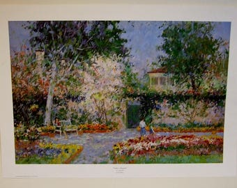 James Frazier artist Outdoor Serenade limited edition print garden flowers wife new home art gift Mothers Day Gift