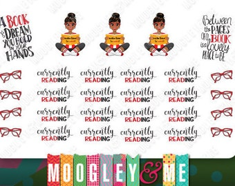 Currently Reading Planner Stickers, Weekly Sticker Kit, Erin Condren Life Planner Stickers, Happy Planner Stickers