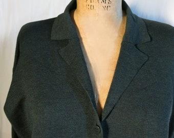 EILEEN FISHER laine vert foncé mérinos Cardigan taille L, pull Cardigan en laine pour femmes