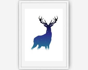 Night Sky Deer Print, Antler Art, Deer Wall Print, Wall Art, Printable, Instant Download