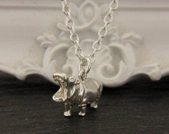 Hippopotamus Pendant in Sterling Silver.