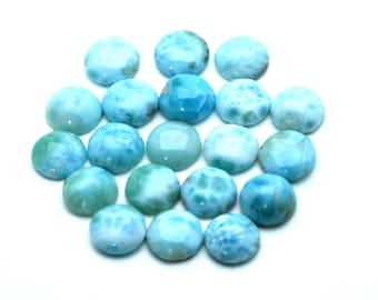 LARIMAR 10mm Round Cabochon 100% Natural, (Lot Of 20 Stones) Under Wholesale