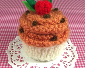 KNITTING Cupcake PATTERN Pumpkin Cupcake Knit Ornament Toy Amigurumi Food - Pumpkin - Pincushion Pattern Instant Download PDF knit dessert