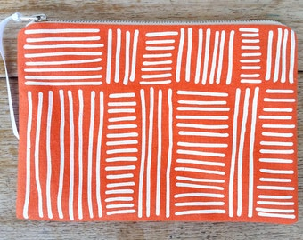 Line Weave pouch - white on bright orange - screen printed and handmade