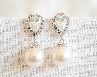 30% OFF, Bridal Earrings, Wedding Earrings, Crystal Earrings, Swarovski Pearl Drop Earrings, Rose Gold Dangle Earrings, Bridesmaid , ABELIA