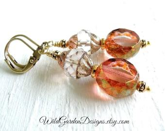 Blush Pink Glass Dangle Earrings Pink Gold Earrings Small Blush Glass Drops Gold Earrings Czech Glass Earrings Blush Wedding Jewelry