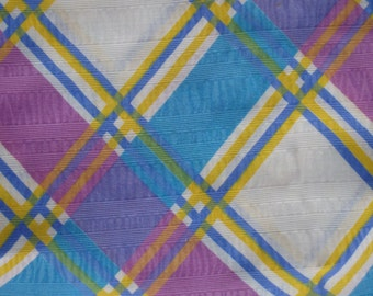 Spring Plaid, Turquoise & Lilac Plaid, Easter Dress Fabric, Summer Top Fabric, Poly Blend Fabric, Lightweight Fabric, Summer Fabrics