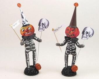 READY TO SHIP Halloween Skeleton Pumpkin Figure: Spun Cotton Vintage Inspired