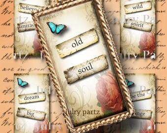 ENGLISH GARDEN 1x2 images, Printable Digital Images, Cards, Gift Tags, Stickers, Scrabble Tiles, Magnets