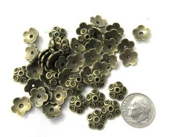 50 Antique Bronze Swirl Bead Caps 10mm (B143L)