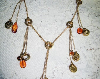 Vtg. Water Fall Chain Glass Topaz Charm Necklace