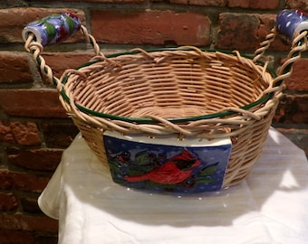Vintage Wicker basket with ceramic handles, Cardinal basket, bird basket, garden basket, Wicker and ceramic, Morethebuckles